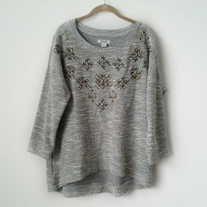 Lucky Lotus sweater embellished feathered gray XL